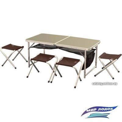 Стол со стульями Greenell FTFS-1 (коричневый)