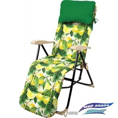 Кресло Nika Haushalt с подножкой и матрасом складное HHK5 (лимоны)