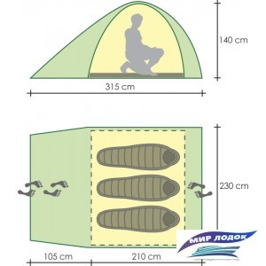 Треккинговая палатка GOLDEN SHARK Compact 3 (зеленый)